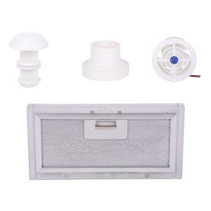 Exhaust air set 4-part with roof chimney, fan, adapter, filter
