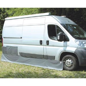 Motorhome protection, wind screen, protective tarpaulin, floor apron