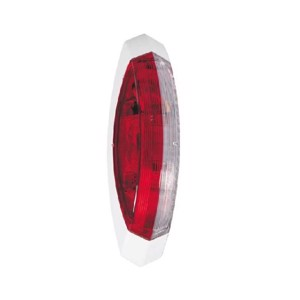Outline marker light red/white, left white base plate, 122,2x39,2x28,6mm
