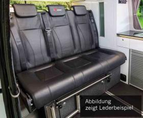 Sleeping bench VW T6 CityVan V3000 size 14 3-seater, upholstery leather 2 colours right.