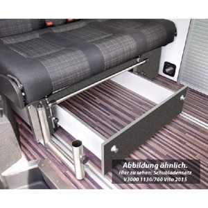 VW T6, VW T5 CityVan drawer for rock and roll bed V3000 size 14, decor basalt