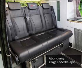 Sleeping bench VW T6/5 V3100 size 17 rigid, 3-seater, upholstery leather 2-colour.