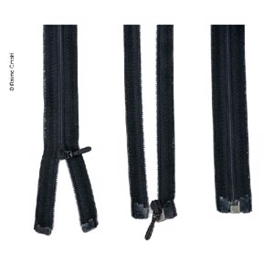 Zipper 100cm, divisible - unhookable in black, plastic