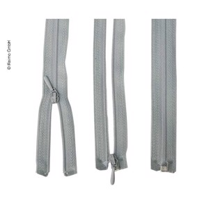 Zipper 140cm, divisible - unhookable in light grey, plastic