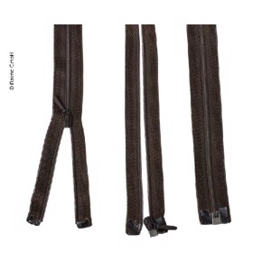 Zipper 50cm, divisible - unhookable in brown, plastic