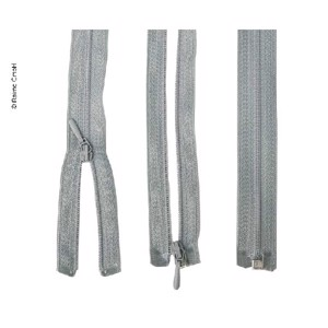 zipper 50cm, divisible unhookable in light grey, plastic