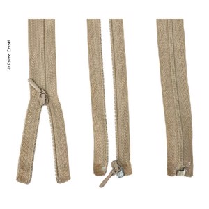 Zipper 50cm, divisible - unhookable in beige, plastic