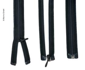 Zipper 130cm, divisible - unhookable in black, plastic