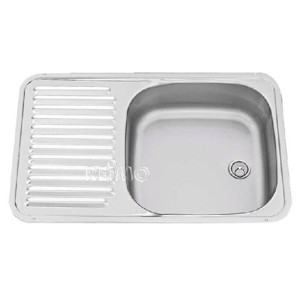 Stainless steel sink with draining board Stainless steel 590x730mm