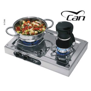 Cooker 2-burner stainless steel L44 x W29 x H9 cm