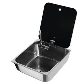 Washbasin square stainless steel with glass cover
