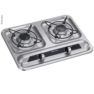 Gas cooker 2-flame 30 mbar stainless steel, 450x325mm