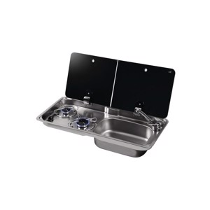 Sink/cooker combination, with 2-part cover