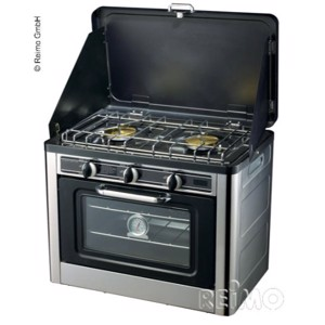 Portable gas stove with ignition protection with oven