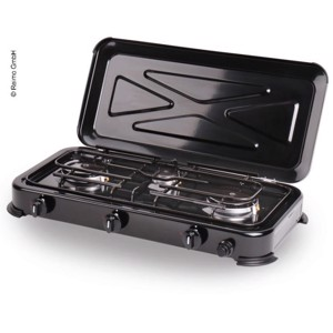 Gas cooker Mary 3fl. black, 50mbar with ignition protection