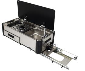 Slideout gas cooker, 2-flame with sink SL1400.LC/LL
