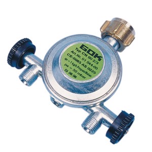 Pressure regulator with 2 outlets, in 50mbar