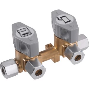 2-fold quick-acting shut-off valve for 8mm gas pipe