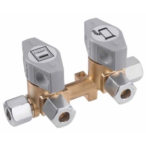 2-fold quick-acting shut-off valve for 10mm inlet & 8mm outlets
