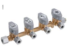 4-fold quick-acting shut-off valve for 10mm inlet & 8mm outlets