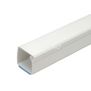 Cable channel 7x12mm x2000mm with film hinge lid, self adhering