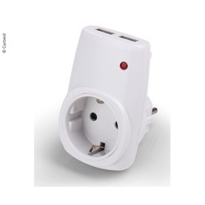 Schuko socket adapter with 2x USB charging ports