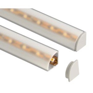 Aluminium corner profile 1.5m long, cover + clips; for LED strips