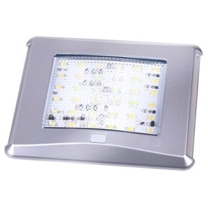 LED ceiling light silver with switch and blue night light, 450lm, 7W