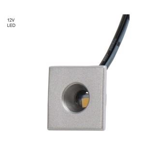 LED 12V single spot silver, 0,5W, 18x18mm, height 9mm