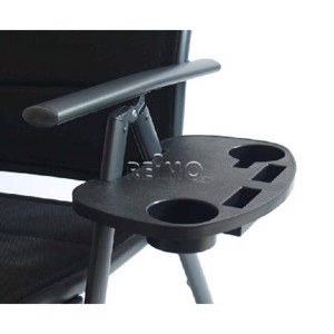 Side table for camping chair, black, with 4 compartments