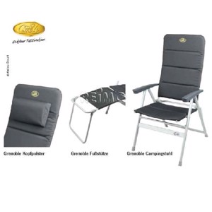 Footrest Camping Chair, GRENOBLE Camp4, black/silver