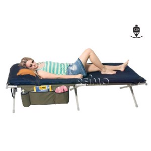 Camping Bed, Euphrat Luxus, Olive, 200x81x41, with sleeping mat & Utensilo