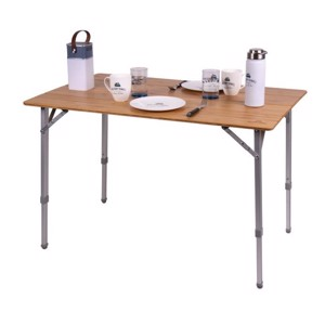 Bamboo, Folding Camping Table, HOLIDAY TRAVEL, alu frame, 100x65x42-65 cm