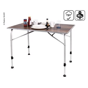 Camping table LEVI FAMILY 115x68x59-72cm, noble wood design, weatherproof