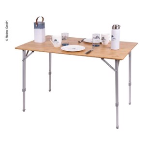 Camping Table HOLIDAY TRAVEL 80x60x43/65 cm, Aluminium/Bamboo