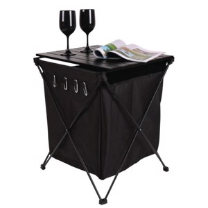 Aluminium rolling table HUGO with bag and hook 46x50x60cm, black