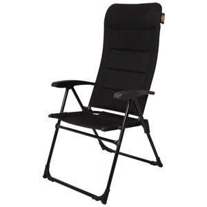 Camping chair MALAGA MESH, 4-way adjustable, black, 3D-mesh