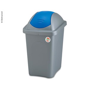 Waste bin with swing lid 30l 29x39xH50cm, grey with blue lid