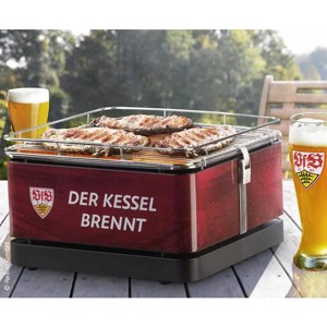 Grill TEIDE 34x34 VfB Stuttgart, charcoal, with grill tongs