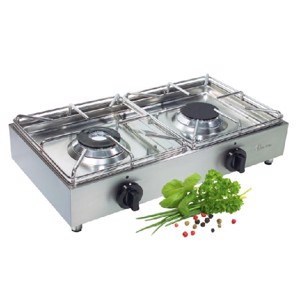 Propane Camping Stove, Luxury, Stainless Steel, 2 Flame 30mbar