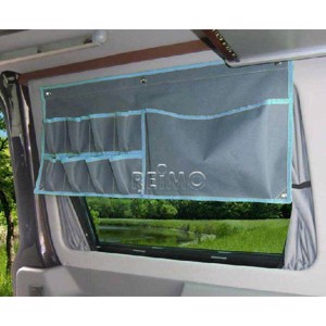 Car Organizer: 1 large and 8 small pockets grey/blue with push-button fastening