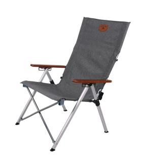 Folding Camping Chair, Joplin, grey/wood