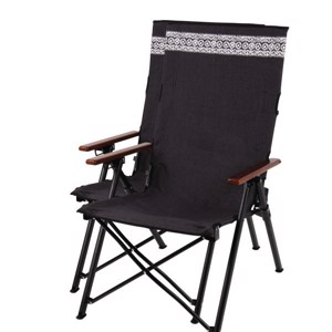 Folding Camping Chair, ETHNO Camp4, black/wood