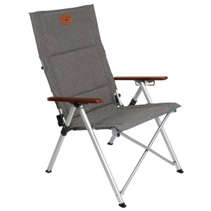 Folding Camping Chair, JOPLIN LUXUS, grey/wood