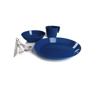 Outdoor tableware for 1 person, plate, cup, bowl, cutlery