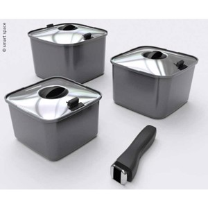 Pot set SMARTSPACE, 10 pieces, 3 pots with lid+handle+3 silicone mats