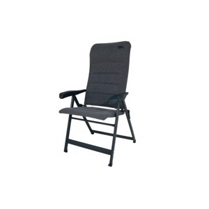 Folding camping chair, grey, upholstered, water-repellent fabric
