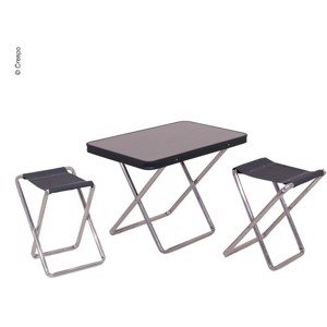 Table top with 2 camping stools, anthracite