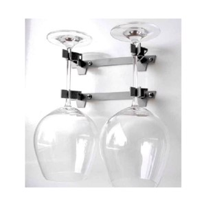 Double glass holder for red wine glasses, colour grey, 2 pieces