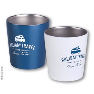 Stainless steel coffee mug 0,3l, HOLIDAY TRAVEL, set of 2